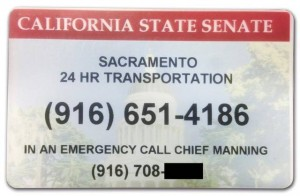 "Senate members were given small plastic cards with the number for ""Sacramento 24 hr transportation."" Chief Sergeant-at-Arms Debbie Manning's number has been obscured by The Sacramento Bee."
